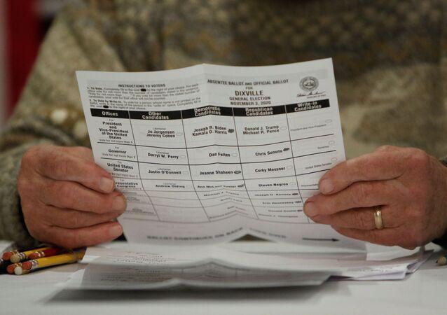 Karta do głosowania w wyborach prezydenckich w USA