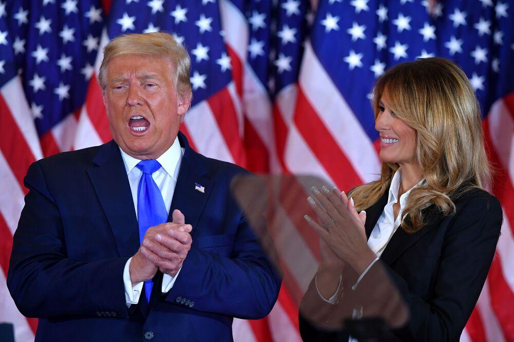 Donald Trump i Melania Trump w Białym Domu w dniu wyborów w USA