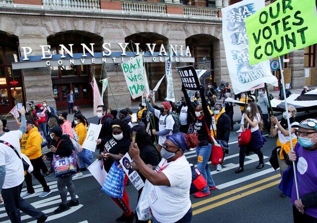 Protesty w Filadelfii po wyborach prezydenckich w USA.