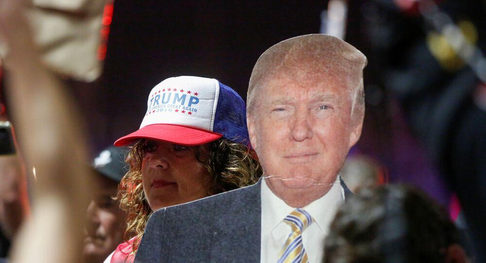 Zwolennik prezydenta USA Donalda Trumpa niesie kartonową wycinankę Trumpa podczas protestu w sprawie wczesnych wyników wyborów prezydenckich w USA w 2020 r.