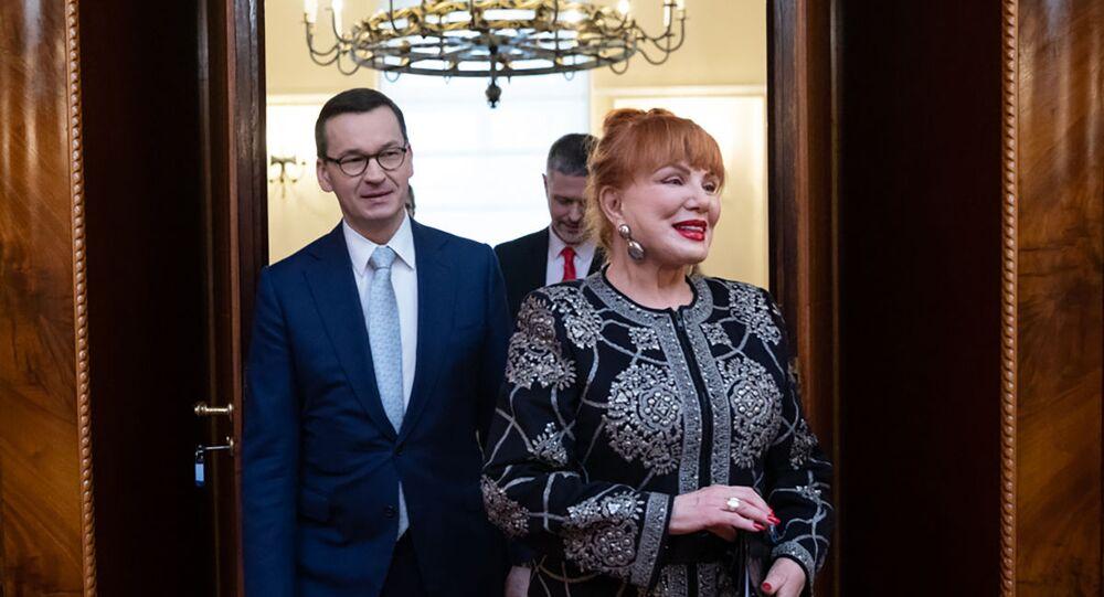 Ambasador USA w Polsce Georgette Mosbacher i premier Mateusz Moraweicki