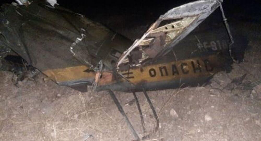Wrak rosyjskiego śmigłowca Mi-24 zestrzelonego w przestrzeni powietrznej nad terytorium Armenii.