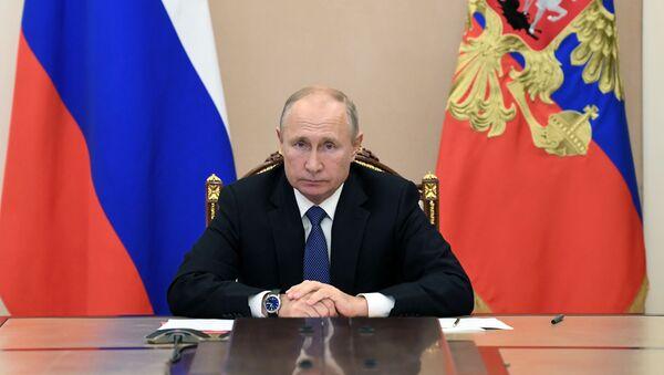 Prezydent Rosji Władimir Putin na spotkaniu ze stałymi członkami Rady Bezpieczeństwa Rosji - Sputnik Polska