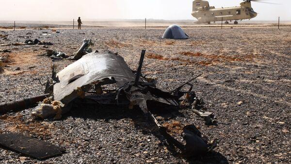 Wrak na miejscu katastrofy rosyjskiego samolotu Airbus A321 w Egipcie - Sputnik Polska