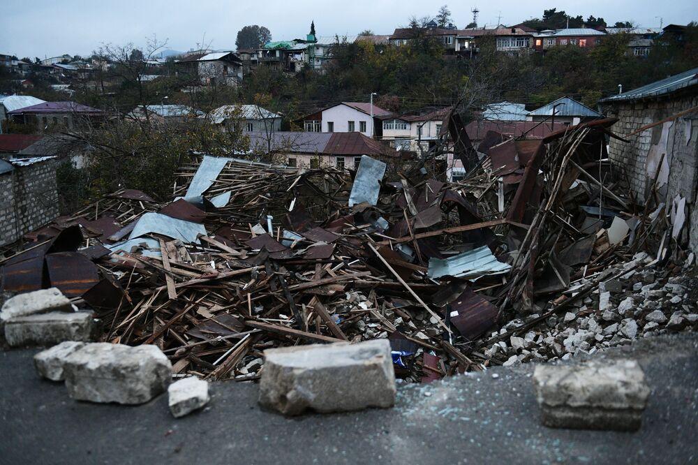 Zniszczone domu w Górskim Karabachu