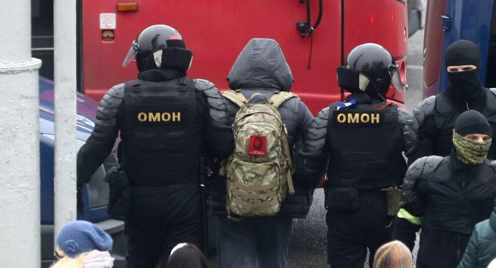 Zatrzymania podczas protestu w Mińsku.