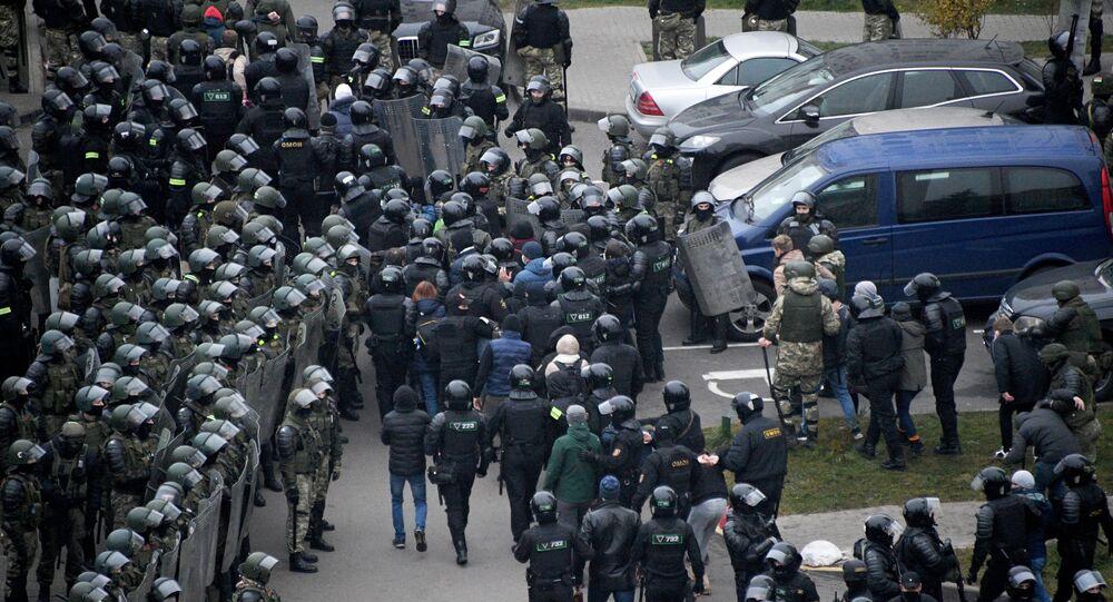 Zatrzymania podczas protestu w Mińsku