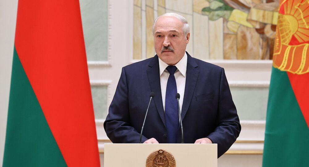 Prezydent Białorusi Alaksandr Łukaszenka podczas przemówienia