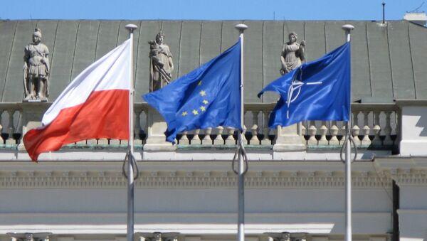 Flagi UE, Polski i NATO - Sputnik Polska