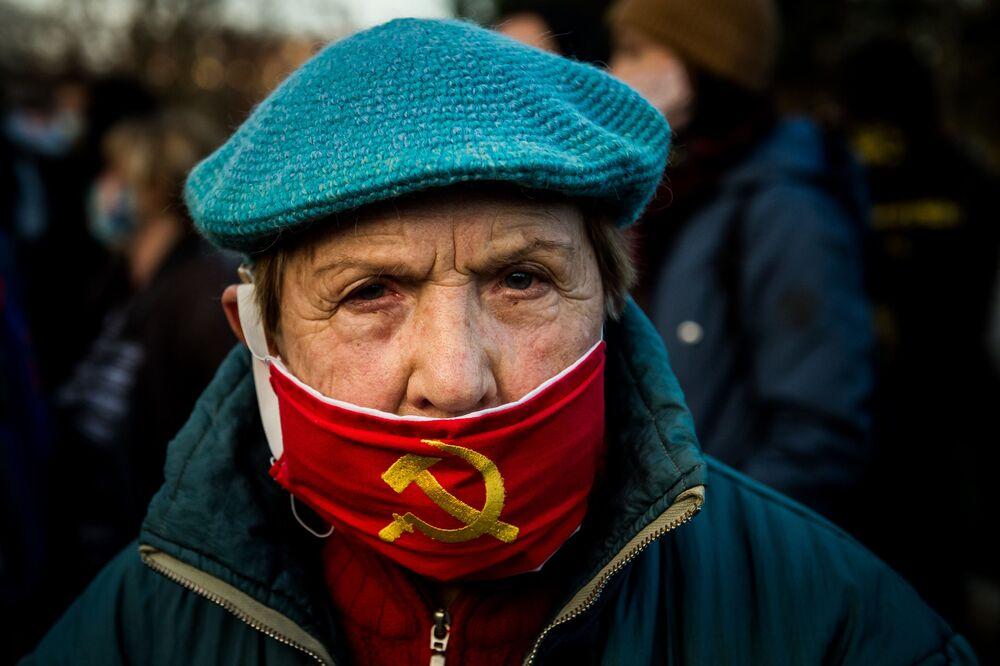 Uczestniczka protestu w Bratysławie