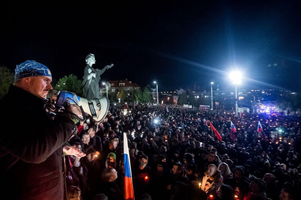 Uczestnicy protestu w Bratysławie