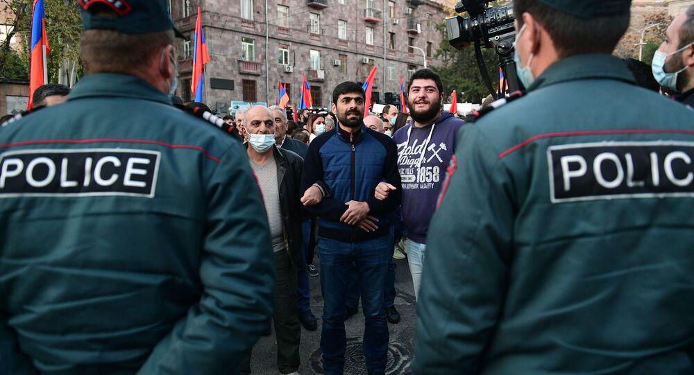 Protesty opozycji w Erywaniu.