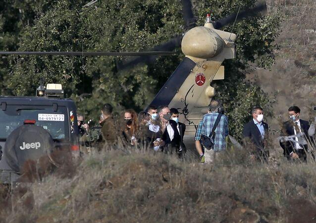 Sekretarz Stanu USA Mike Pompeo podczas wizyty na anektowanych przez Izrael Wzgórzach Golan.