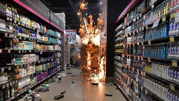 Pożar w supermarkecie Carrefour w mieście Porto Alegre w Brazylii  - Sputnik Polska