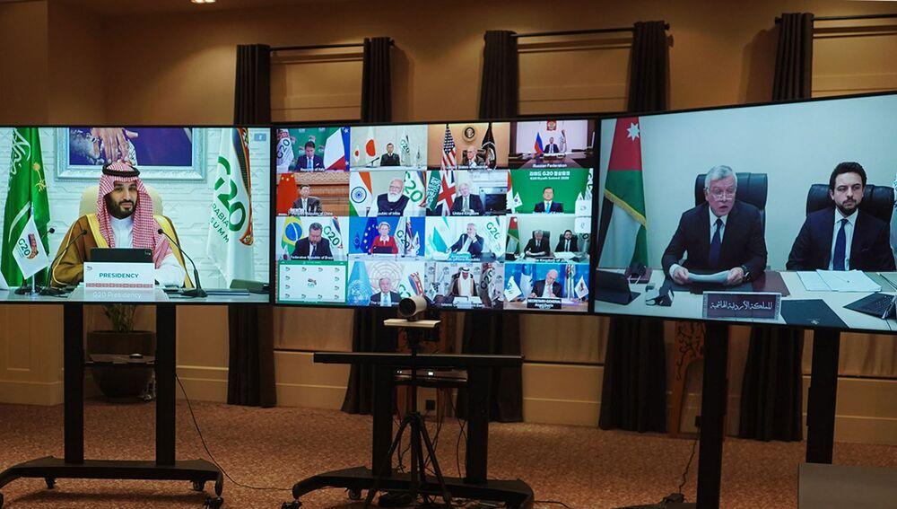 Król Jordanii z synem na szczycie G20 w formacie wideokonferencji w Ammanie