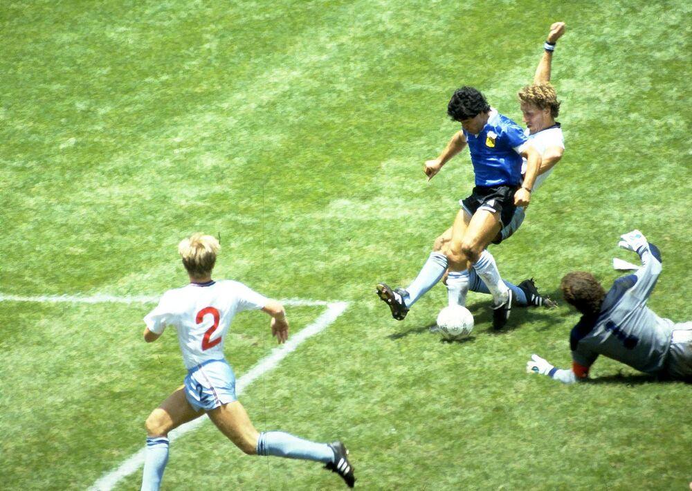 Maradona podczas Mistrzostw Świata w Piłce Nożnej 1986 roku