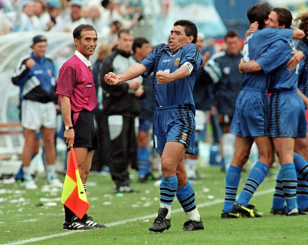 Diego Maradona podczas Mistrzostw Świata 1994 roku