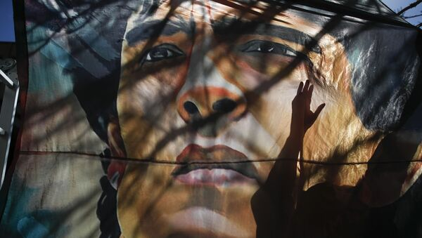 Plakat z wizerunkiem Diego Maradony w Argentynie - Sputnik Polska