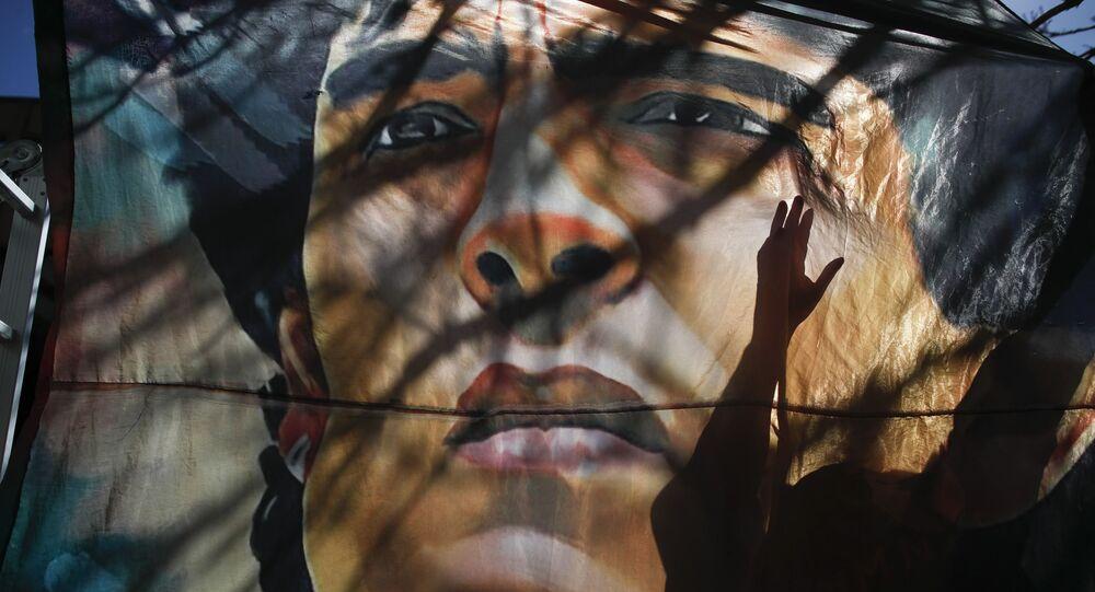 Plakat z wizerunkiem Diego Maradony w Argentynie