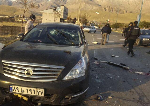 Miejsce zabójstwa fizyka jądrowego Mohsena Fakhrizadeha w Iranie