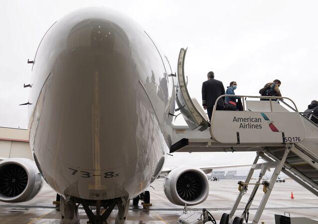 Pasażerowie na pokładzie Boeinga 737 Max w Tulsie, Oklahoma, USA