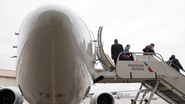 Pasażerowie na pokładzie Boeinga 737 Max w Tulsie, Oklahoma, USA - Sputnik Polska
