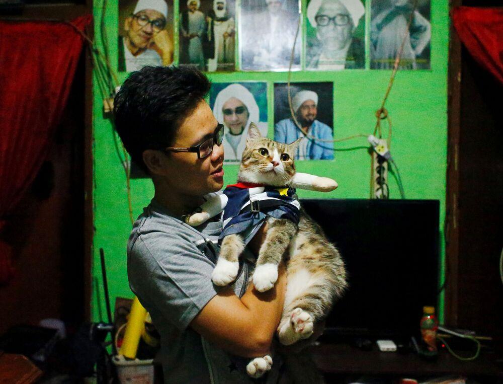 Kot w przebraniu na rękach właścicielki , Indonezja