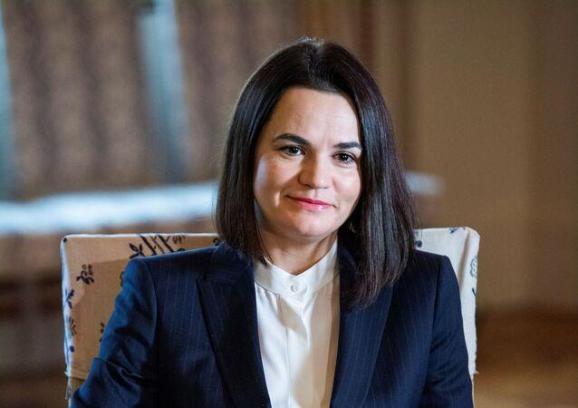 Była kandydatka na prezydenta Białorusi Swiatłana Cichanouska w Sztokholmie, Szwecja