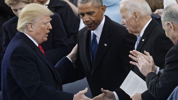 Donald Trump, Barack Obama i Joe Biden w Waszyngtonie  - Sputnik Polska