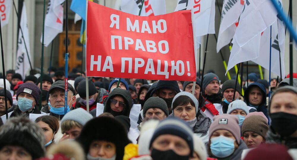 Protest przeciwko kwarantannie w Kijowie