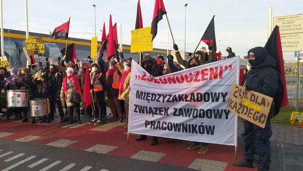 Protest pracowników Amazona pod Wrocławiem - Sputnik Polska