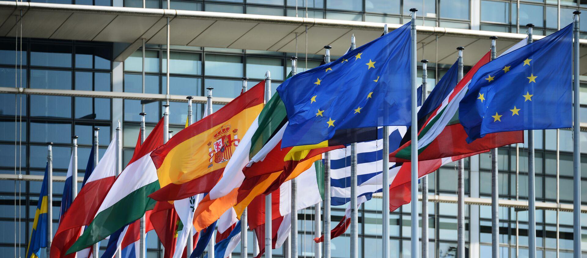 Flagi przy budynku Parlamentu Europejskiego w Strasburgu - Sputnik Polska, 1920, 16.05.2021