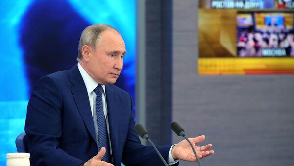 Prezydent Rosji Władimir Putin na corocznej konferencji prasowej - Sputnik Polska