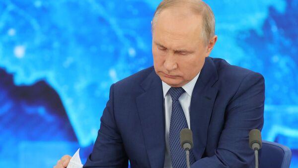 Władimir Putin podczas dorocznej konferencji prasowej - Sputnik Polska