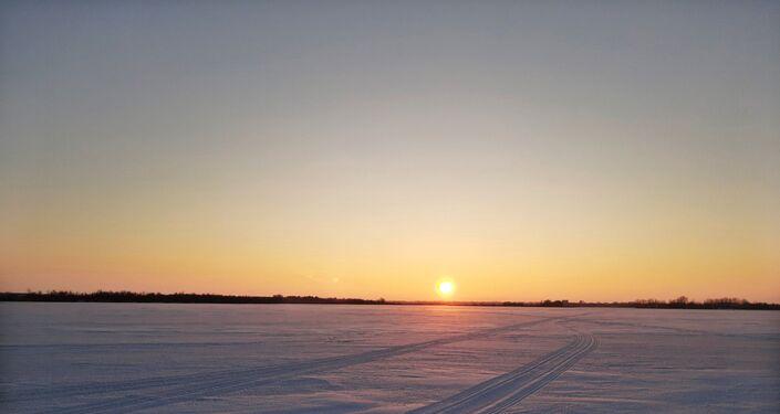 Rzeka Wołga w zimie