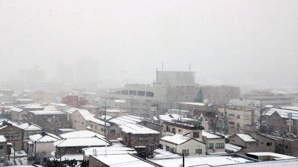 Opady śniegu w japońskim mieście Kashiwazaki.