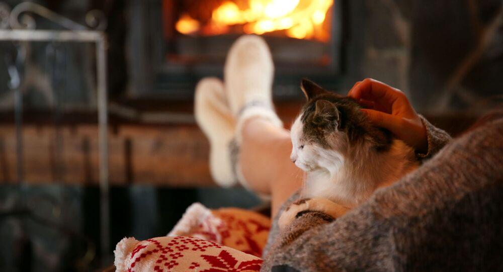 Kobieta z kotem na rękach przy kominku