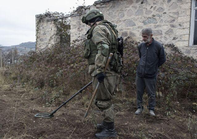 Rosyjski żołnierz w Karabachu