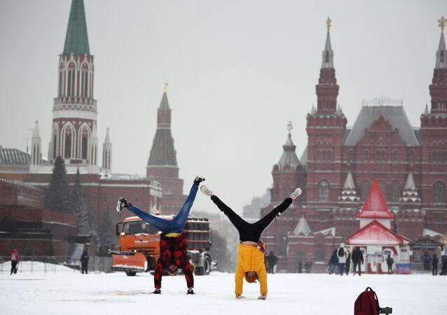 Opady śniegu w Moskwie. Plac Czerwony