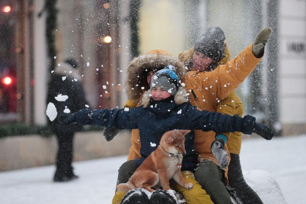 Opady śniegu w Moskwie