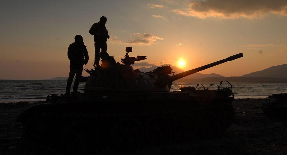 Rosyjscy żołnierze na wyspie Kunaszyr.