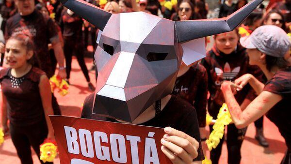 Akcja protestacyjna przeciwko korridzie w Kolumbii - Sputnik Polska