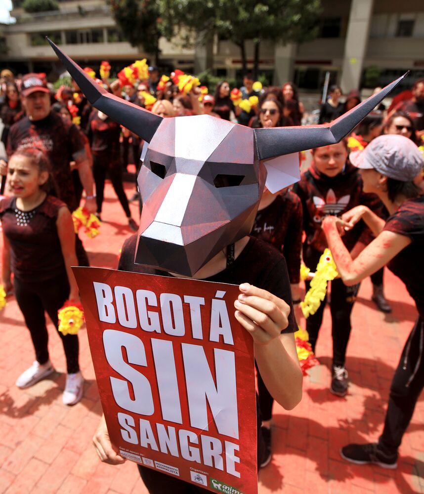 Akcja protestacyjna przeciwko korridzie w Kolumbii