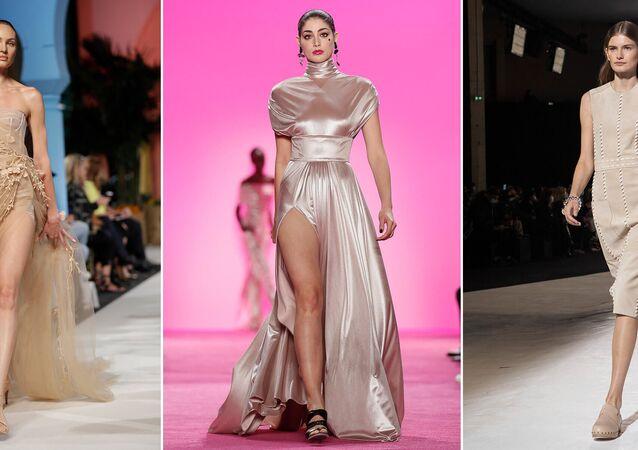 Modelki w beżowych sukienkach