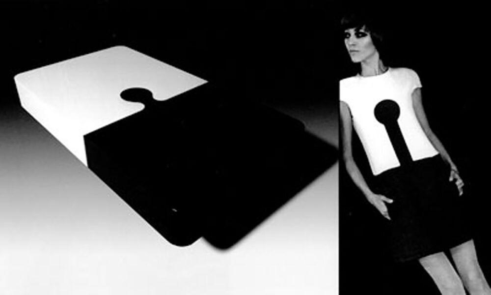 Modelka w sukni Espace autorstwa Pierre Cardina