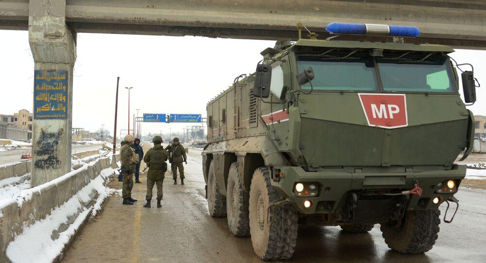Samochód pancerny Tajfun-K Rosyjskiej Żandarmerii Wojskowej w prowincji Idlib.