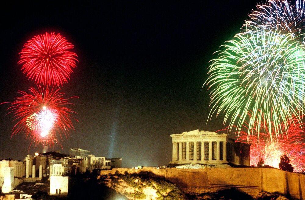 Fajerwerki nad Akropolem w Atenach, 1998 rok