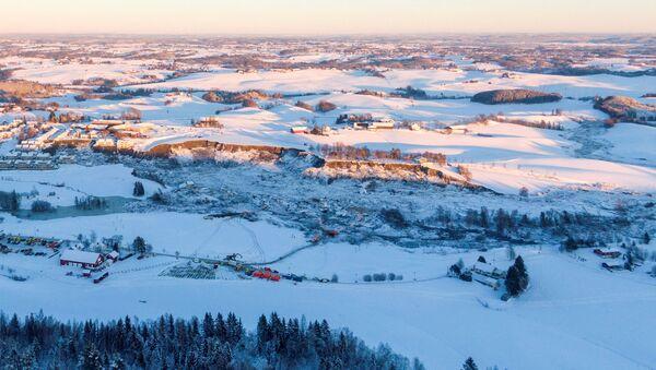 Osunięcie ziemi w Ask w Norwegii - Sputnik Polska