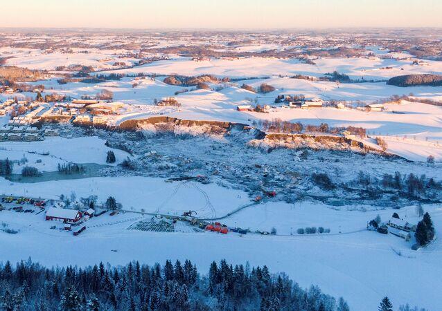 Osunięcie ziemi w Ask w Norwegii.
