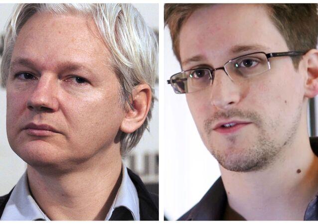 Założyciel WikiLeaks Julian Assange i były pracownik Agencji Bezpieczeństwa Narodowego Edward Snowden